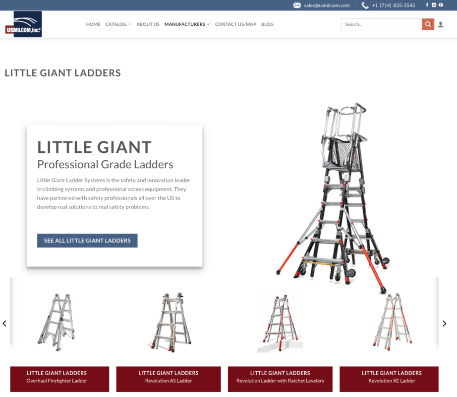 Screen Shot of the Little Giant Ladders page